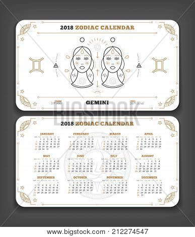 Gemini 2018 year zodiac calendar pocket size horizontal layout Double side white color design style vector concept illustration.