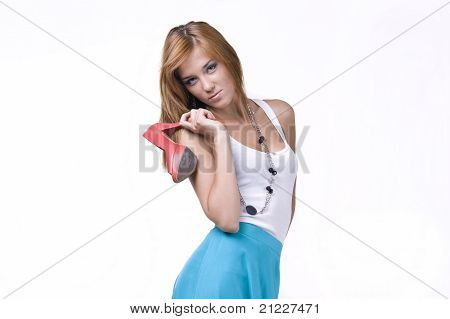 Portrait of a beautifulgirl in a long skirt on a white background poster