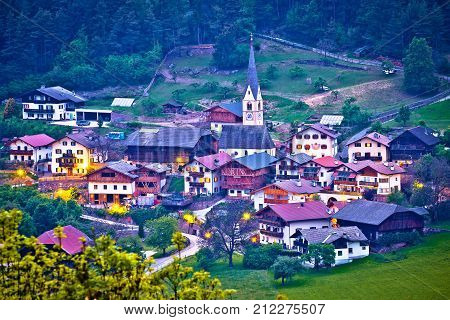 Picturesque Alpine Village Of Tisens Aerial Evening View