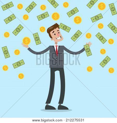 Money rain illustration. Businessman standing under money falling down.