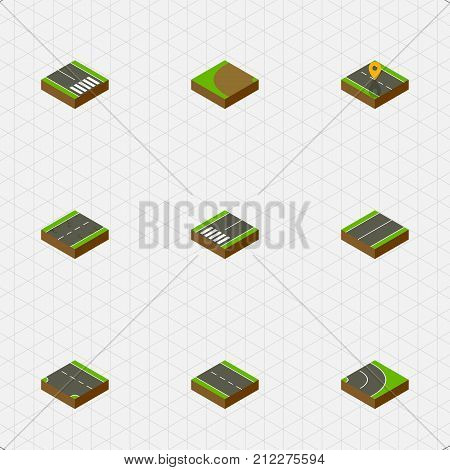 Isometric Way Set Of Single-Lane, Turning, Downward And Other Vector Objects