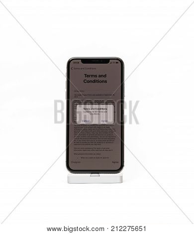 Paris France - Nov 5 2017: New Apple Iphone X 10 Smartphone Isolated White Background Terms And Cond