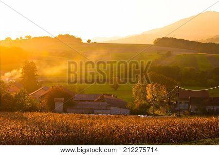 Golden Sunset In Rural Region Of Croatia
