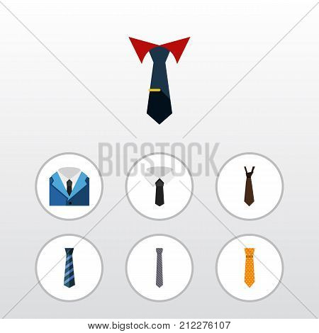 Flat Icon Necktie Set Of Cravat, Suit, Tie And Other Vector Objects