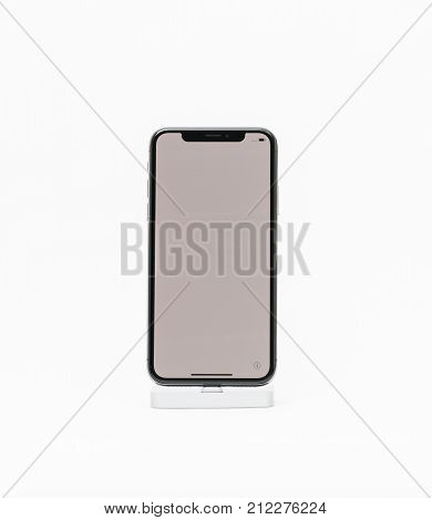 Apple Iphone X Isolated White Background Blank Screen