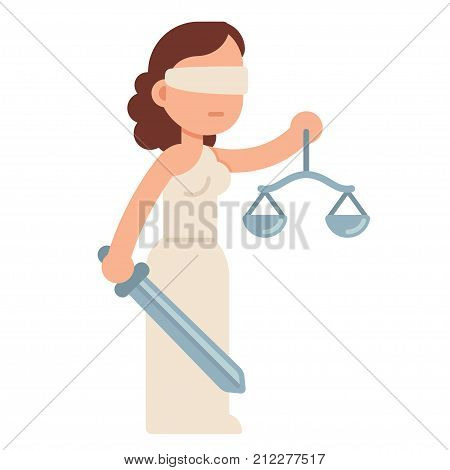 Cartoon Lady Justice blindfolded with scales and sword. Themis Greek goddess of law and justice. Flat style vector illustration.