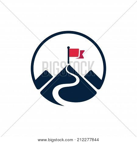 Red flag on mountain top simple vector logo. Path to achieving goals success concept. Isolated icon symbol.
