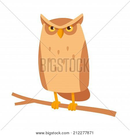 Cute cartoon owl sitting on branch. Funny frowning horned owl character simple stylized vector illustration.