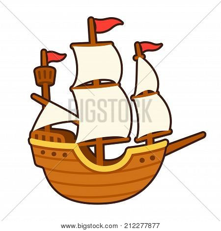 Old cartoon ship drawing with white sails. Traditional tall ship vector illustration.