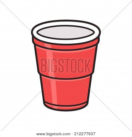 Red plastic cup isolated on white background. Traditional party drink cup vector illustration.