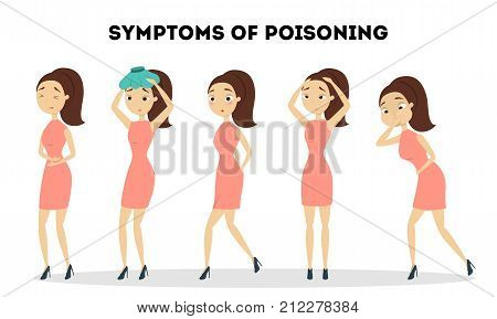 Symptoms of poisoning for woman. Young sick woman.