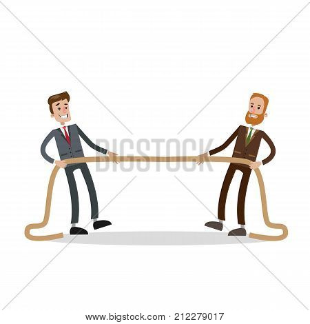 Rope pulling competition. Two businessmen fighting for business.