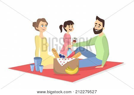 Family at picnic. Isolated parents and daughter on blanket withfood on white background.