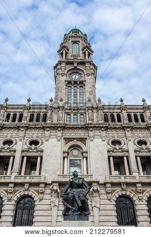 monument of Almeida Garrett and Porto City Hall Portugal