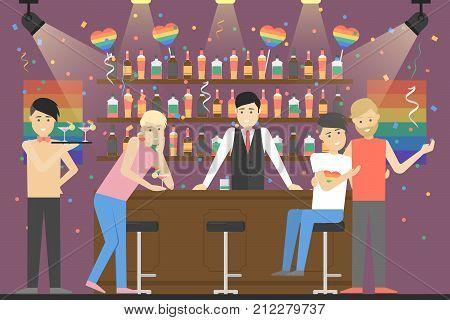 Gay party at bar. People have fun. Rainbow flag.