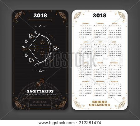 Sagittarius 2018 year zodiac calendar pocket size vertical layout Double side black and white color design style vector concept illustration.