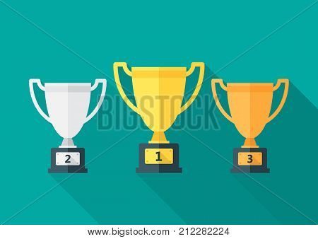 Trophy icon with long shadow. Flat design style. Gold silver and bronze trophies simple silhouette. Modern minimalist icon in stylish colors. Web site page and mobile app design vector element.