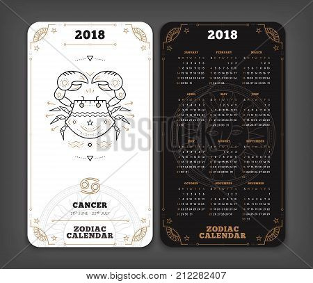 Cancer 2018 year zodiac calendar pocket size vertical layout Double side black and white color design style vector concept illustration.