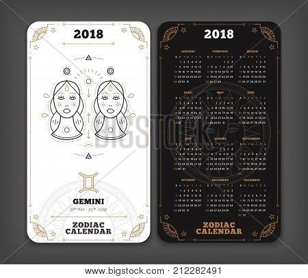 Gemini 2018 year zodiac calendar pocket size vertical layout Double side black and white color design style vector concept illustration.
