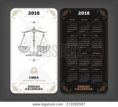 Libra 2018 year zodiac calendar pocket size vertical layout Double side black and white color design style vector concept illustration.
