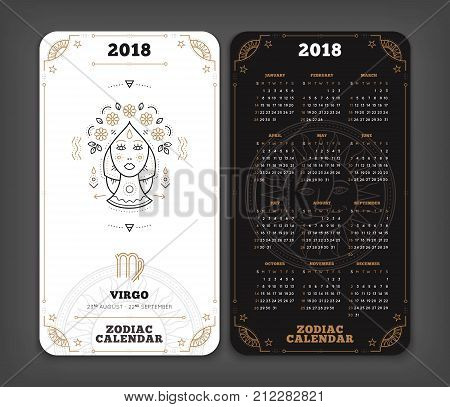 Virgo 2018 year zodiac calendar pocket size vertical layout Double side black and white color design style vector concept illustration.