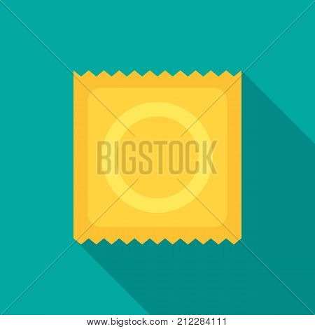 Condom icon with long shadow. Flat design style. Condom simple silhouette. Modern minimalist icon in stylish colors. Web site page and mobile app design vector element.