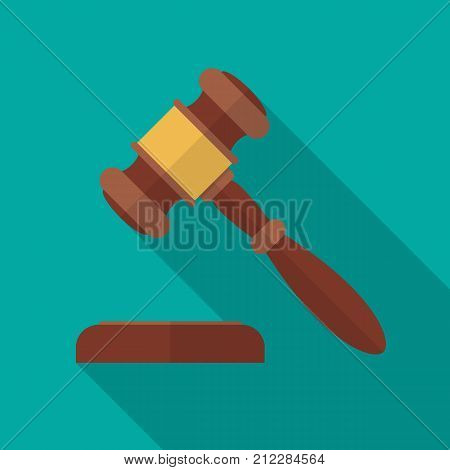 Auction or judge gavel icon with long shadow. Flat design style. Auction gavel simple silhouette. Modern minimalist icon in stylish colors. Web site page and mobile app design vector element.