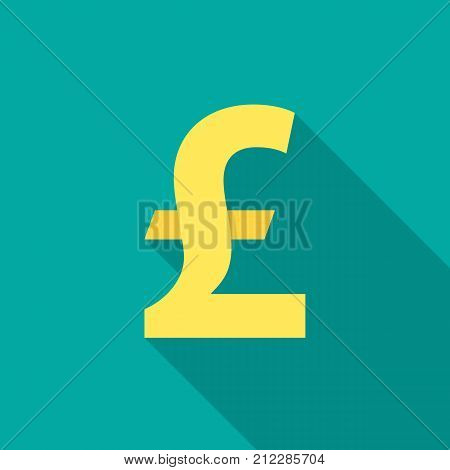 Pound sterling icon with long shadow. Flat design style. Pound sterling simple silhouette. Modern minimalist icon in stylish colors. Web site page and mobile app design vector element.