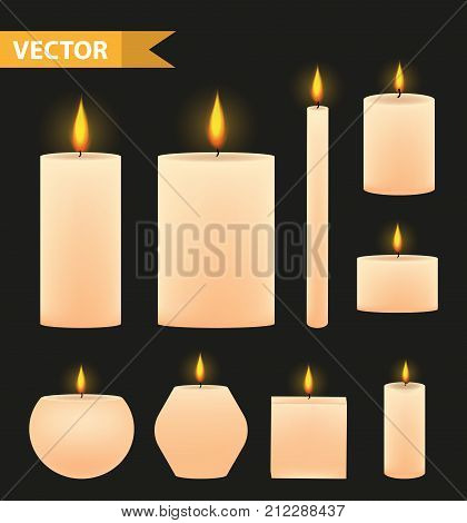 Realistic beige candles set. 3d burning candle collection. Isolated on a black background. Vector illustration