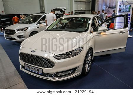CRACOW POLAND - MAY 20 2017: Ford Vignale displayed at MOTO SHOW in Cracow Poland. Exhibitors present most interesting aspects of the automotive industry