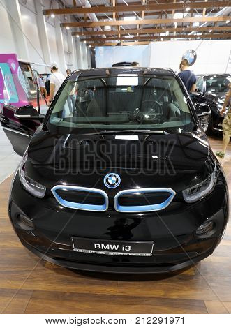 CRACOW POLAND - MAY 20 2017: New BMW i3 electric automobile displayed at 3rd edition of MOTO SHOW in Krakow. Poland.Exhibitors present most interesting aspects of the automotive industry