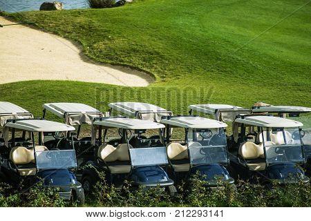 Golf Course Carts. Sport Theme. Golf Playing Season