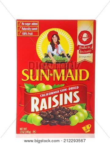 Alameda CA - November 03 2017: One box of Sun Maid brand Raisins. Sun-Maid is the largest raisin and dried fruit processor in the world.