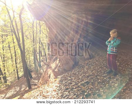 Family Hike In Autumn Forest In Rheinland Pfalz