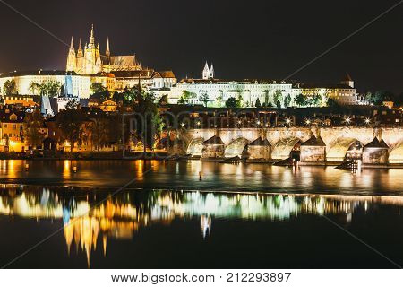 Night View Of Historical Center Of Prague With Castle, Hradcany, Czech Republic