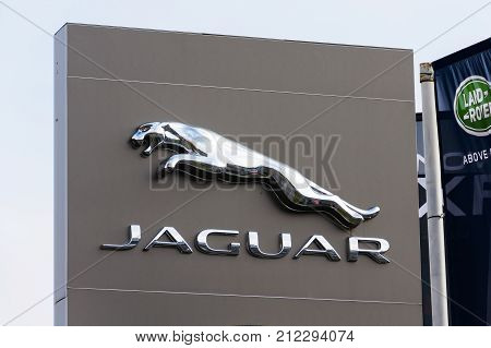 Prague, Czech Republic - November 5: Jaguar Car Manufacturer Company Logo In Front Of Dealership Bui
