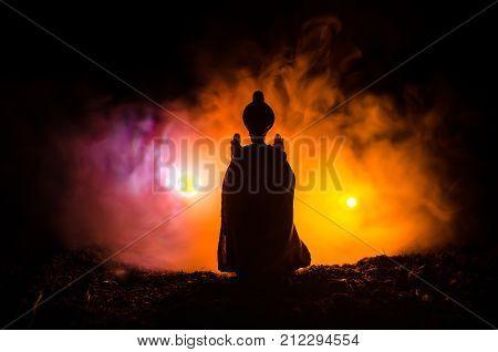 Muslim men silhouette blurred backgroundSilhouettesthe light of faith hope faith supplicationHand of Muslim people