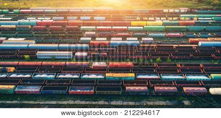 Top View Of Cargo Trains. Aerial View