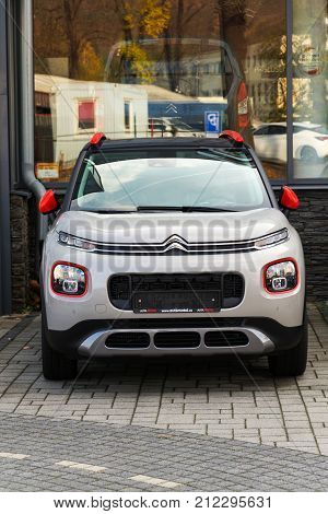 Prague, Czech Republic - November 5: Citroen C3 Aircross Suv Car In Front Of Dealership Building On