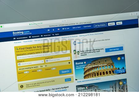 Milan, Italy - August 10, 2017: Booking.com Website Homepage. It  Is A Travel Fare Aggregator Websit