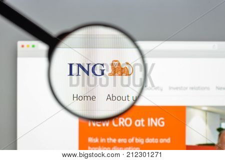 Milan, Italy - August 10, 2017: Ing Group Bank Website Homepage. It Is A Dutch Multinational Banking