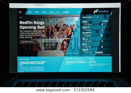 Milan, Italy - August 10, 2017: Nasdaq Website Homepage. It Is An American Stock Exchange. It Is The