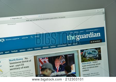 Milan, Italy - August 10, 2017: The Guardian Website Homepage. The Guardian Logo Visible.