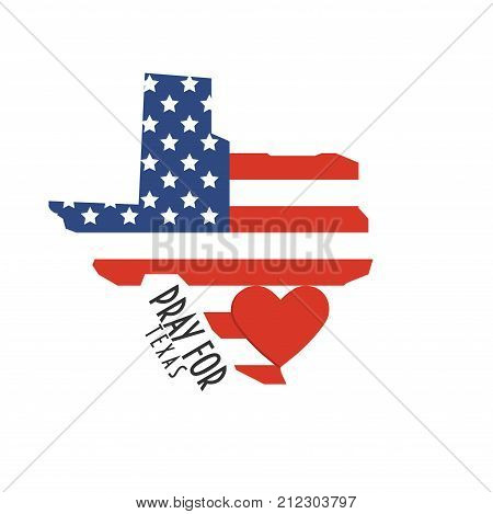 Pray for Texas Vector Illustration. Great as donate, relief or help victims icon. Heart, State map and text: Pray for Texas. Support for volunteering and charity work after Sutherland Springs church mass shooting.