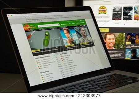 Milan, Italy - August 10, 2017: Rotten Tomatoes Website Homepage. It Is An American Review Aggregato
