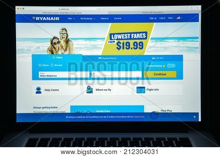 Milan, Italy - August 10, 2017: Ryanair Website Homepage. It Is An Irish Low-cost Airline Founded In