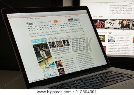 Milan, Italy - August 10, 2017: Sina Website Homepage. It Is A Chinese Telecom Company.. Sina.com.cn