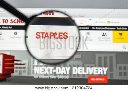 Milan, Italy - August 10, 2017: Staples.com Website Homepage. It An Office Supply Chain Store With H