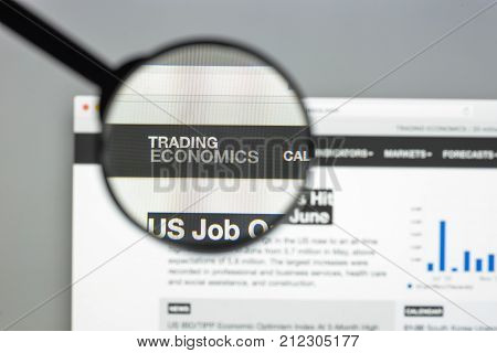 Milan, Italy - August 10, 2017: Trading Economics Website Homepage. Trading Economics Logo Visible.