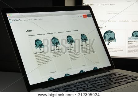 Milan, Italy - August 10, 2017: Wikileaks Website Homepage. It Is An International Non-profit Organi
